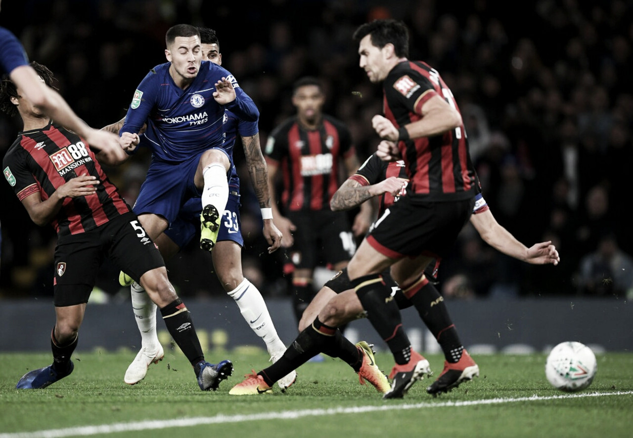 Hazard sai do banco, decide e Chelsea bate Bournemouth pela EFL Cup
