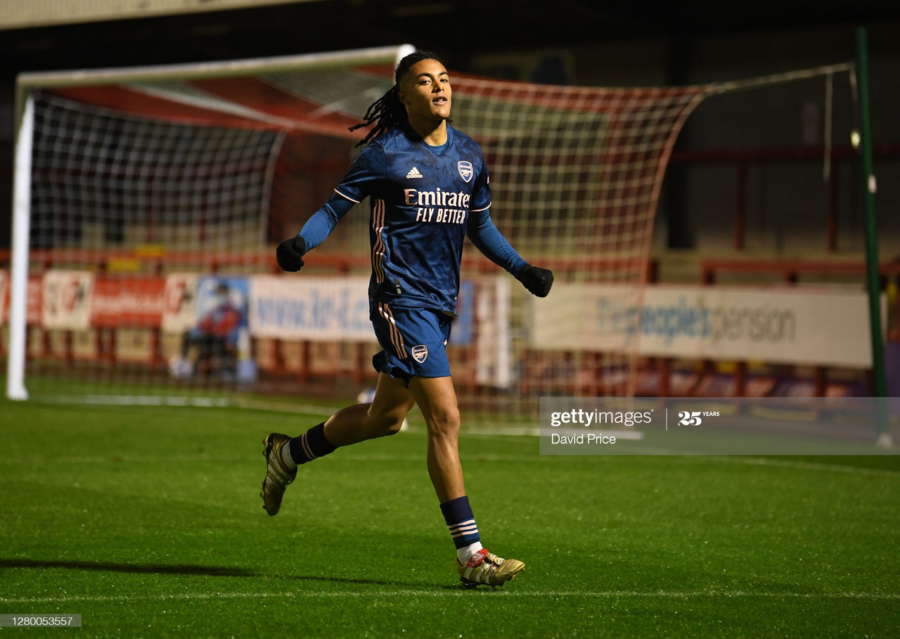 CRAWLEY, ENGLAND - OCTOBER 13: Miguel Azeez celebrates scoring Arsenal's 2nd goal during the EFL Trophy Group Stage match between Crawley Town and Arsenal U21 at The Peoples Pension Stadium on October 13, 2020 in Crawley, England. (Photo by David Price/Arsenal FC via Getty Images)