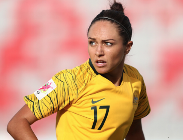 Australian forward Kyah Simon will look to stay healthy for upcoming friendlies in November. (Photo by Francois Nel/Getty Images)