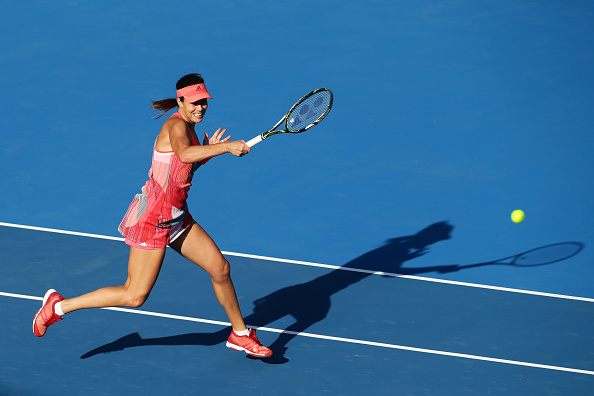 Ivanovic cracks a forehand winner at the 2016 Apia International in Sydney. Credit: Matt King/Getty Images