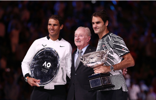Federer poses with Nadal and Rod Laver, one of tennis' great champions, after the epic final. Credit: Scott Barbour/Getty Images