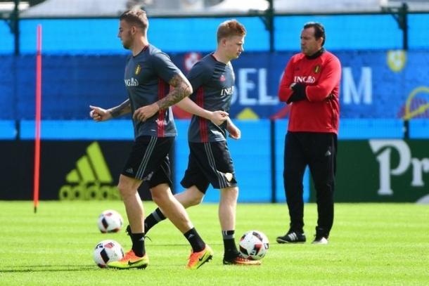 De Bruyne in training ahead of the Wales clash (Photo: AFP/Emmanuel Dunandafp)