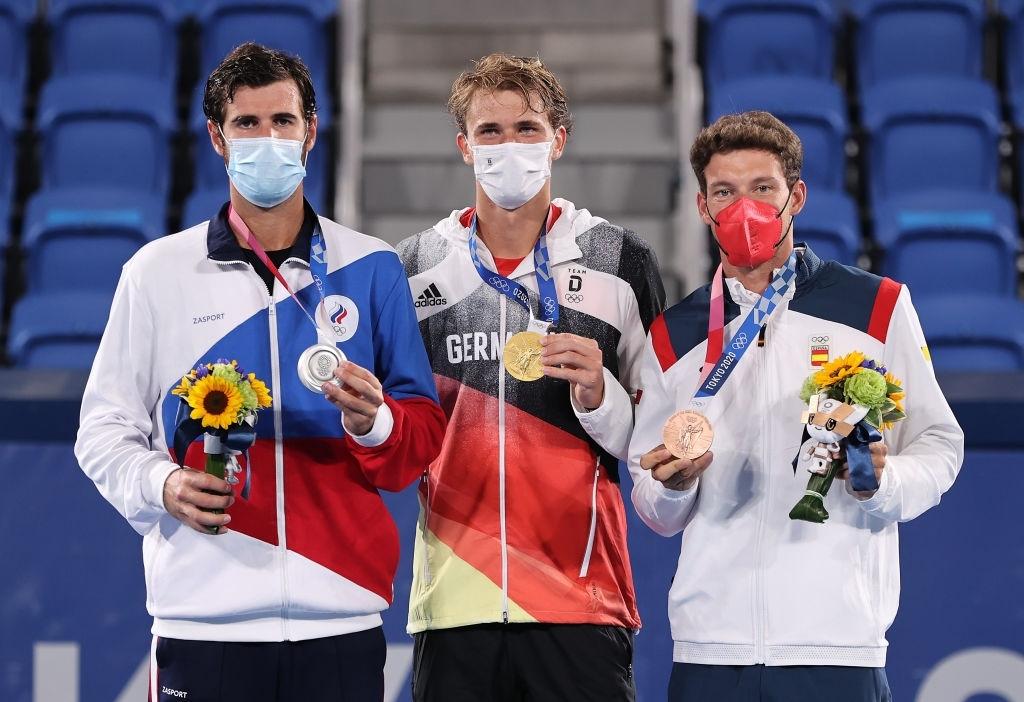 The men's singles podium. Photo: