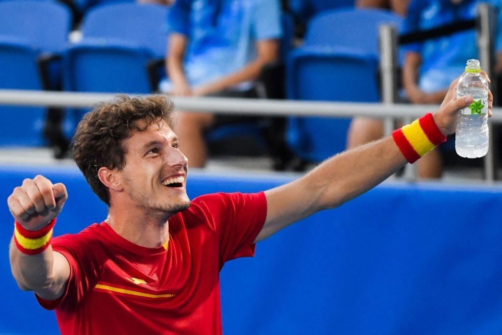 Carreno Busta celebrates after winning the bronze medal. Photo: