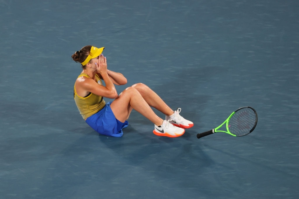 Svitolina celebrates upon converting match point to win the bronze medal. Photo: