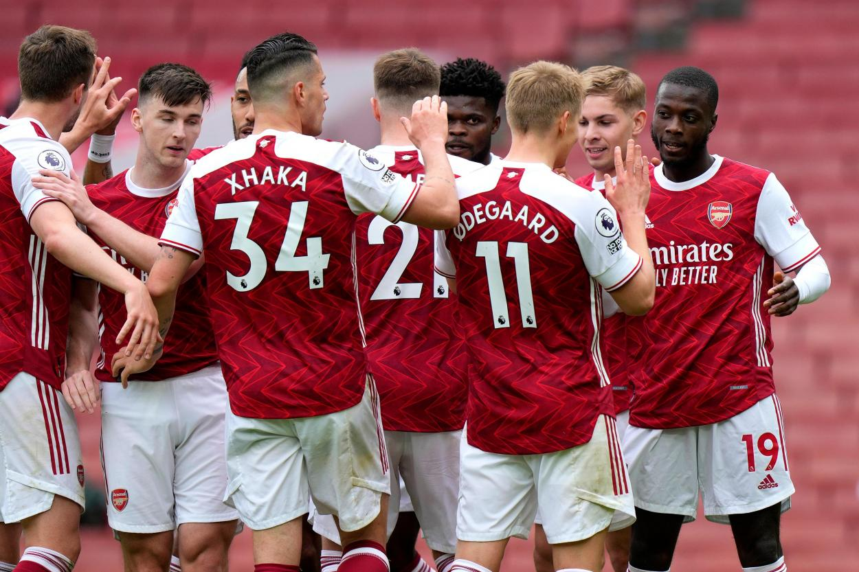 Arsenal en la celebración de uno de sus goles / Foto: Premier League