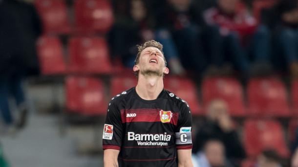 Kiessling se lamenta de una ocasión fallada esta temporada   Foto: Bayer Leverkusen