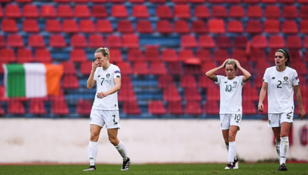 A devastated Denise O'Sullivan and her Republic of Ireland teammates. (Photo By Harry Murphy/Sportsfile via Getty Images)