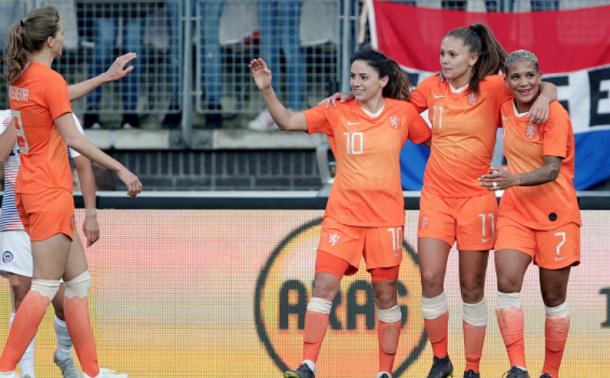 (From left to right) Vivianne Miedema, Daniëlle van de Donk, Lieke Martens and Shanice van de Sanden. (Photo by Eric Verhoeven/Soccrates/Getty Images)