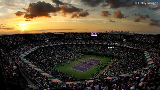 The sunsets over the Atlantic Ocean at Crandon Park Tennis Center on Key Biscayne in Miami, Florida/Getty Images