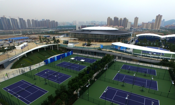 A bird's eye of view of the Hengqin International Tennis Centre in Zhuhai which will stage the WTA Elite Trophy. Photo credit: WTA Elite Trophy.