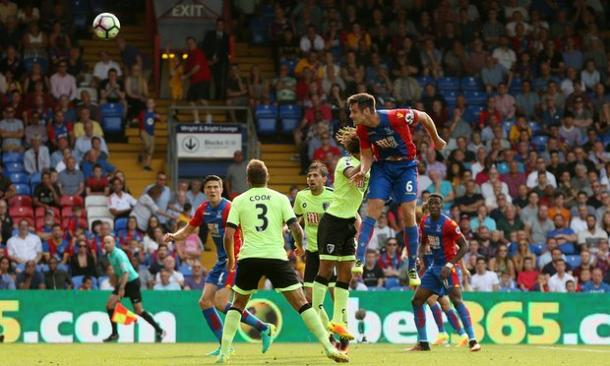 Dann powers home a header from just inside the area | Photo: Getty images