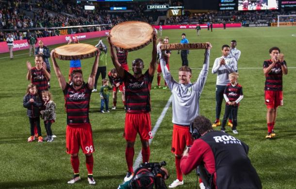The Timbers celebrating their hard fought 3-1 victory over the Quakes on Saturday at Providence Park. Photo provided by USA TODAY Sports.