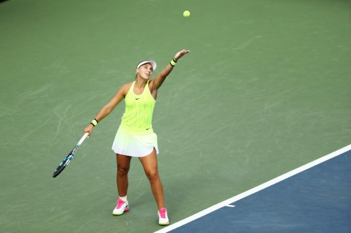 Ana Konjuh serves to Varvara Lepchenko in their third round match at the U.S. Open/Photo: Elsa/Getty Images