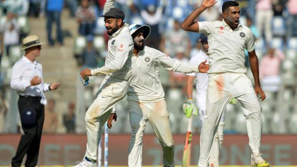 Ashwin celebrates taking three wickets in the final session of the day | Photo: ECB
