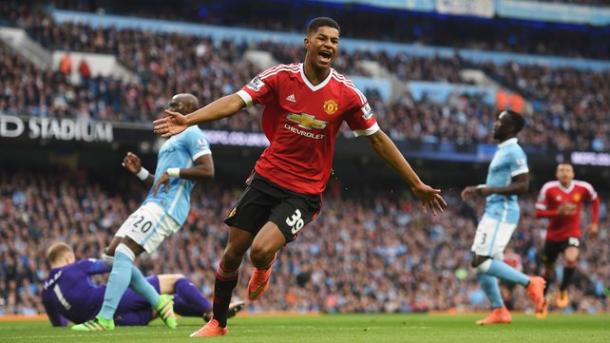 Rashford celebrates his winner against Manchester City | Photo: Getty Images