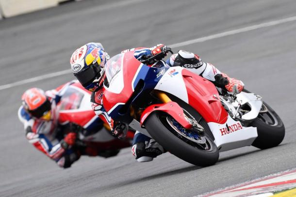 Repsol Honda riders Pedrosa and Marquez present at the Red Bull Ring earlier in the year for filming on the road bikes - www.motorcyclenews.com
