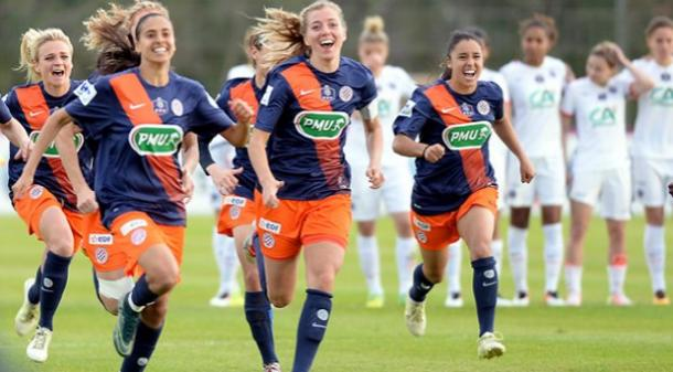 Montpellier celebrate after their semi-final victory on penalties over PSG. (Photo: FFF)
