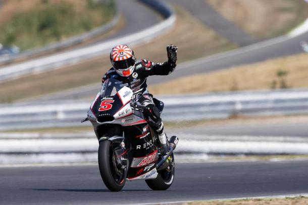 Zarco celebrates dranatic pole position - www.thecheckeredflag.co.uk