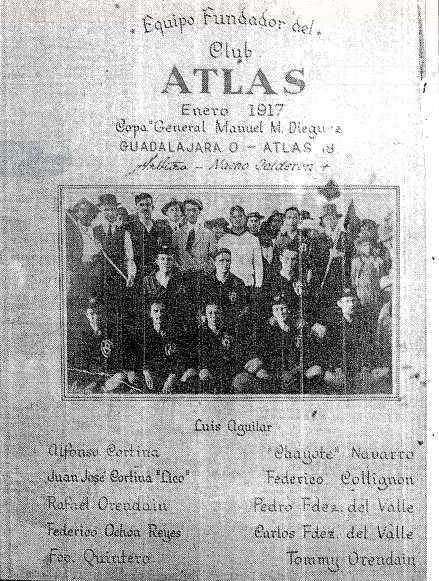 Periódico de 1917 que detalla la alineación del Atlas en el partido del 18 - 0