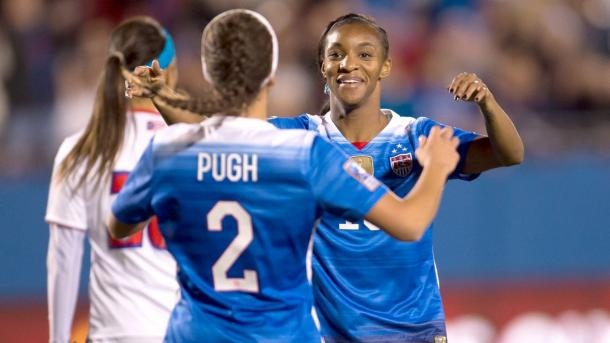 Mallory Pugh (Center) and Crystal Dunn (Back) celebrating the United States first goal of the match on Monday against Puerto Rico at the Toyota Stadium. Photo provided by Osvaldo Aguilar-MexSport Images.