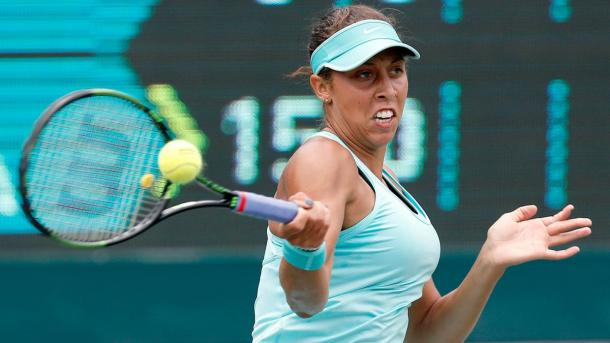Madison Keys blasts a forehand at the 2015 Family Circle Cup in Charleston, South Carolina/Getty Images