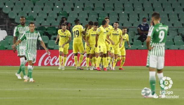Guardado después de uno de los goles del Villarreal | Fotografía: LaLiga