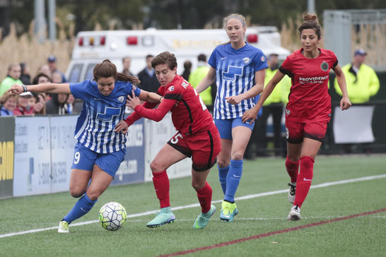 The two clubs spent the first half fighting for possession at Jordan Field. Photo provided by The Boston Herald.
