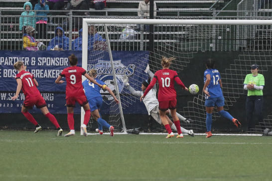 Dagny Brynjarsdottir (Number 11) watching her header hit the back of the net to secure the 1-0 victory for the Thorns on Sunday against the Breakers at Jordan Field. Photo provided by The Boston Herald.