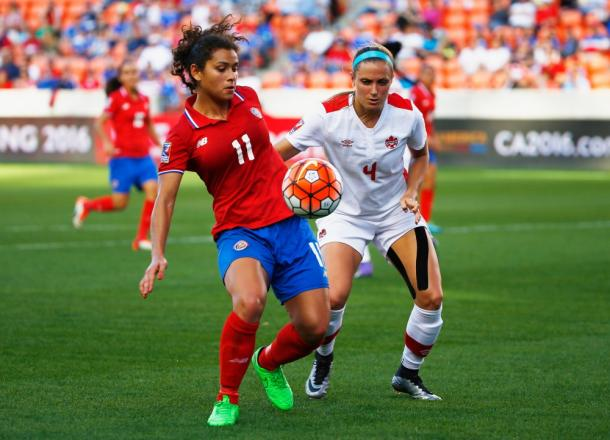 Raquel Rodriguez (#11) scored her sixth goal of the torunanment against Canada on Friday at BBVA Compass Stadium. Photo provided by David J. Phillip-Associated Press Photo.