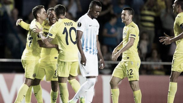 Los jugadores del Villarreal celebran el 2-1 ante el conjunto suizo | Foto: web oficial del Villarreal CF