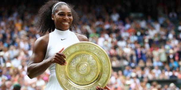 Serena Williams celebrates her Wimbledon title/Getty Images