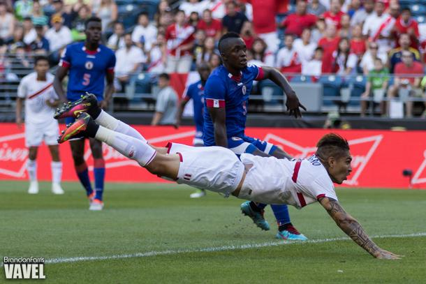 Peru's captain Paulo Guerrero breaking his national team record of goals against Haiti on June fourth at CenturyLink Field. Photo provided by VAVEL.