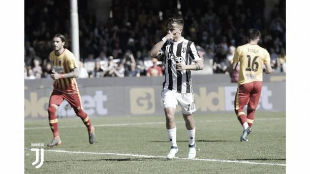 Imagen de Dybala celebrando su último gol. Foto: Juventus.com