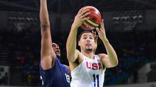 Klay Thompson (11) can play a big part on Team USA's offense when he hits his shots. Photo: Harry How