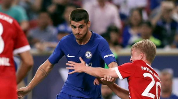 L'attaccante del Chelsea Alvaro Morata in azione nell'ultima amichevole contro il Bayern Monaco. Foto: Tuttosport