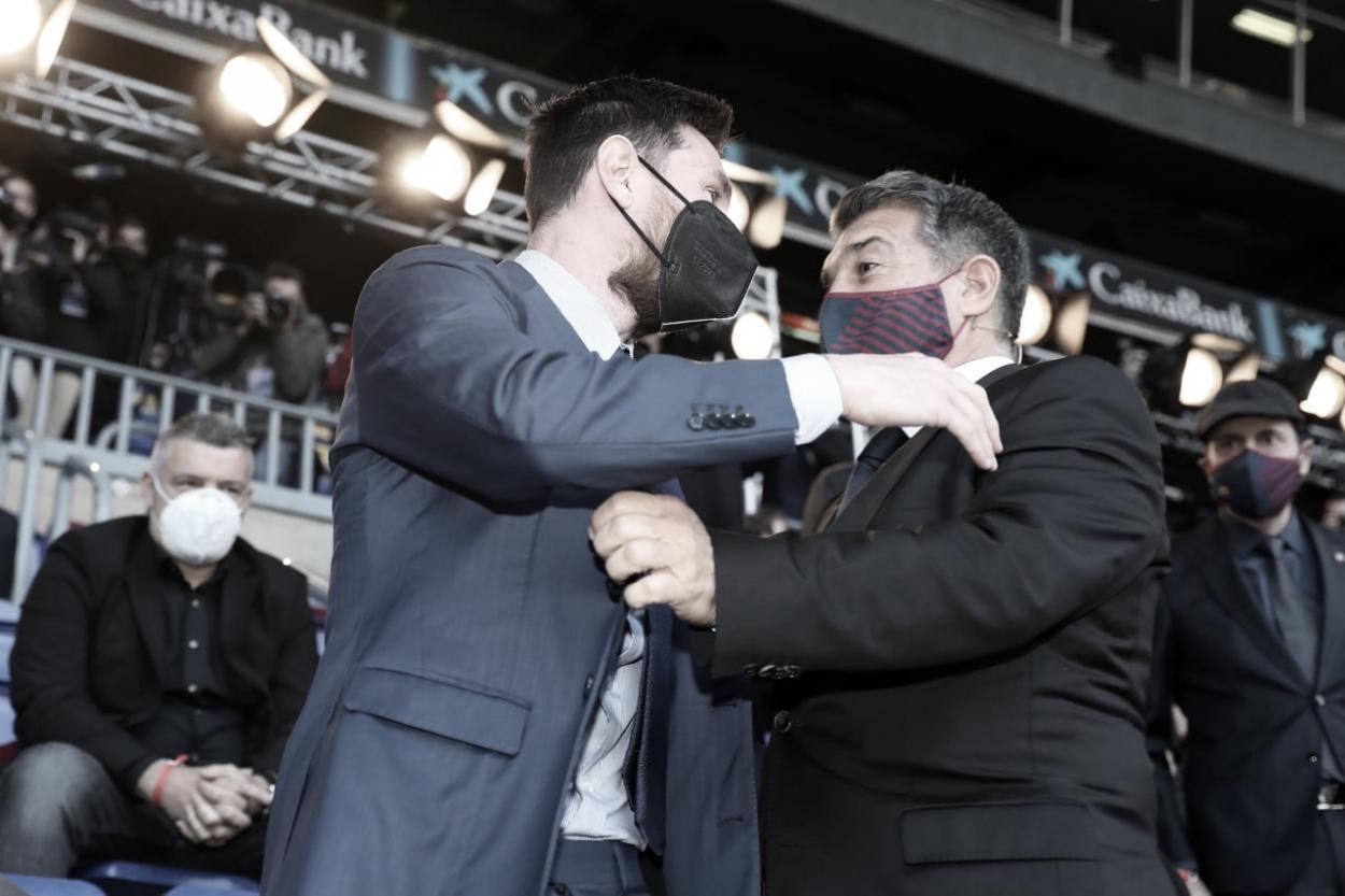 Salutación entre Messi y Laporta | Foto: fcbarcelona.es