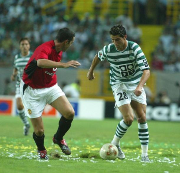 Cristiano Ronaldo ante el Manchester United el seis de agosto del 2003 | Fuente: Sporting Club de Portugal