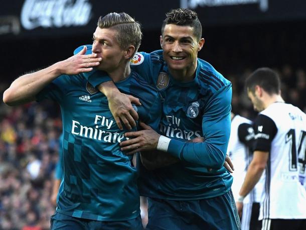 Kroos y Cristiano celebrando un gol del alemán. Fuente: Real MAdrid