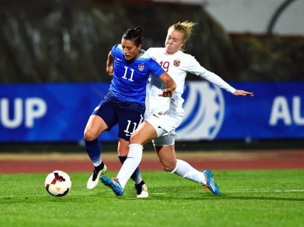 Ali Krieger and Norway's Marie Markussen battle for possession | Source: Brad Smith-ISI Photos