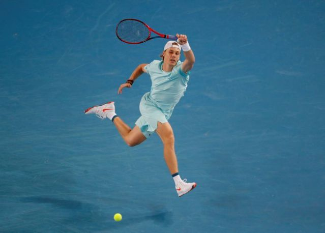 Shapovalov follows through on a forehand during his first-round victory/Photo: Asanka Brendon Ratanayake/Reuters