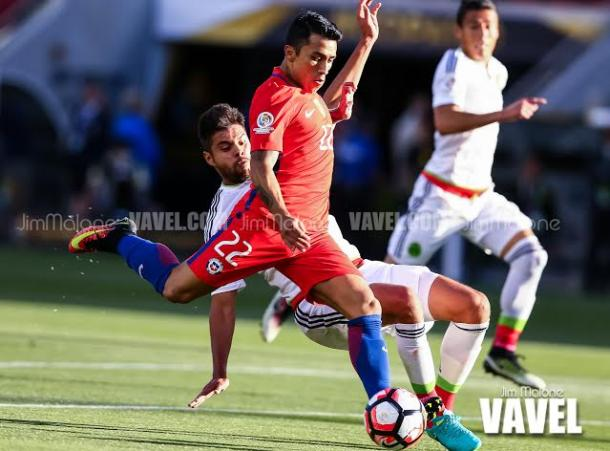 Edson Puch scored two goals for Chile in their 7-0 quarterfinal victory against Mexico on Saturday night at Levi's Stadium. Photo provided by Jim Malone-VAVEL USA.