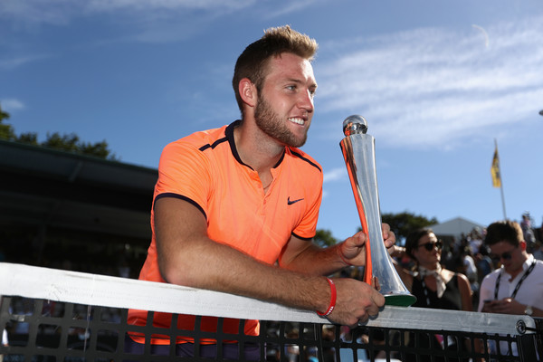 Jack Sock holds his trophy in Auckland last January. Photo: Phil Walter/Getty Images
