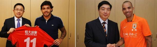 Ricardo Goulart (esq.) e Diego Tardelli na suas apresentações. (Foto: doentesporfutebol.com.br)