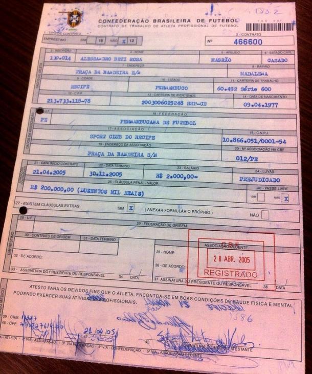 Magrão assinou seu primeiro contrato pelo Leão (Foto: Reprodução)