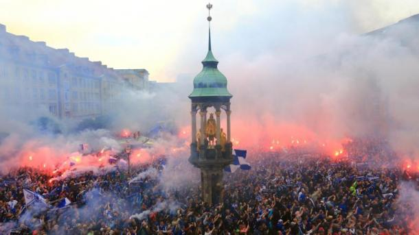 Magdeburg fans celebrating promotion to 3.Liga in 2015