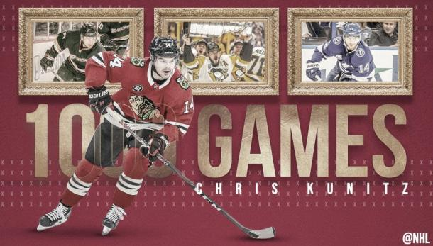 Montaje 1000 partidos de Kunitz en la NHL   Foto: @NHL