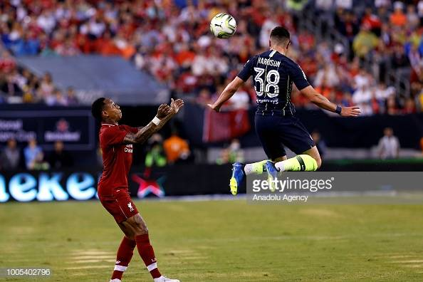 NEW JERSEY, USA - JULY 25: Jack Harrison (38) of Manchester City in action against Nathhaniel Clyne (2) of Liverpool FC during a friendly match between Manchester City and Liverpool FC within the International Champions Cup at MetLife Stadium in New Jersey, United States on July 25, 2018. (Photo by Atilgan Ozdil/Anadolu Agency/Getty Images)