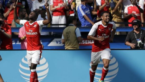Campbell and Coquelin celebrate in America. | Source: 101greatgoals