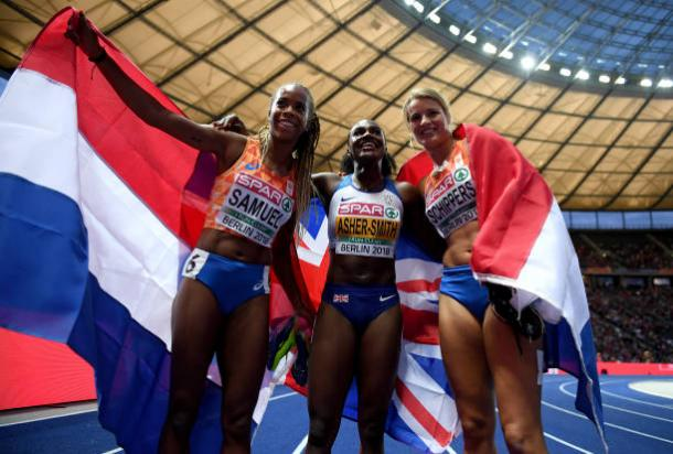 Samuel, Asher-Smith, and Schippers celebrate following the final (Getty Images)